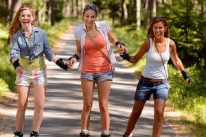 happy girls skating