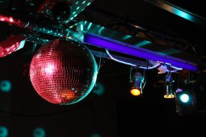 Disco ball and lights at roller disco