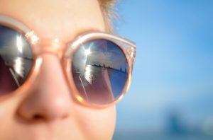 Closeup of woman wearing summer sunglasses
