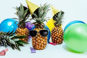 Pineapples and balloons for summer party