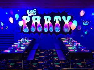Glow birthday party room at Skate World Deer Park